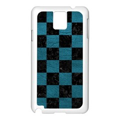SQUARE1 BLACK MARBLE & TEAL LEATHER Samsung Galaxy Note 3 N9005 Case (White)