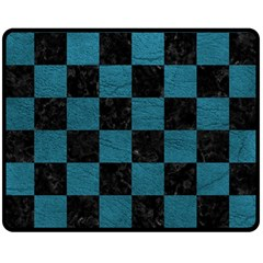 SQUARE1 BLACK MARBLE & TEAL LEATHER Double Sided Fleece Blanket (Medium)
