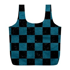SQUARE1 BLACK MARBLE & TEAL LEATHER Full Print Recycle Bags (L)
