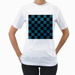 SQUARE1 BLACK MARBLE & TEAL LEATHER Women s T-Shirt (White)