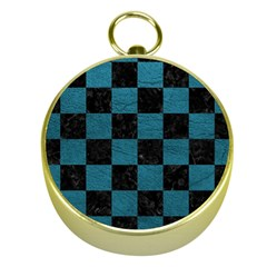 SQUARE1 BLACK MARBLE & TEAL LEATHER Gold Compasses