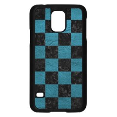 SQUARE1 BLACK MARBLE & TEAL LEATHER Samsung Galaxy S5 Case (Black)