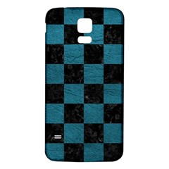SQUARE1 BLACK MARBLE & TEAL LEATHER Samsung Galaxy S5 Back Case (White)