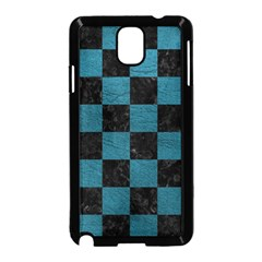 SQUARE1 BLACK MARBLE & TEAL LEATHER Samsung Galaxy Note 3 Neo Hardshell Case (Black)