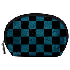 SQUARE1 BLACK MARBLE & TEAL LEATHER Accessory Pouches (Large)