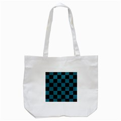 SQUARE1 BLACK MARBLE & TEAL LEATHER Tote Bag (White)