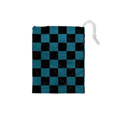 SQUARE1 BLACK MARBLE & TEAL LEATHER Drawstring Pouches (Small)