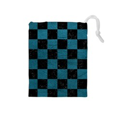 SQUARE1 BLACK MARBLE & TEAL LEATHER Drawstring Pouches (Medium)
