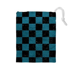 SQUARE1 BLACK MARBLE & TEAL LEATHER Drawstring Pouches (Large)