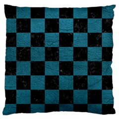 SQUARE1 BLACK MARBLE & TEAL LEATHER Large Flano Cushion Case (One Side)