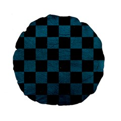 Square1 Black Marble & Teal Leather Standard 15  Premium Flano Round Cushions by trendistuff
