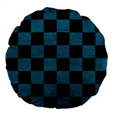 SQUARE1 BLACK MARBLE & TEAL LEATHER Large 18  Premium Flano Round Cushions