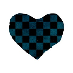 SQUARE1 BLACK MARBLE & TEAL LEATHER Standard 16  Premium Flano Heart Shape Cushions