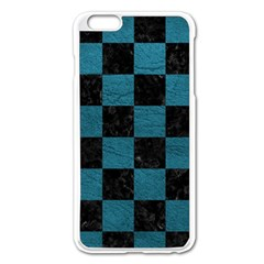 SQUARE1 BLACK MARBLE & TEAL LEATHER Apple iPhone 6 Plus/6S Plus Enamel White Case