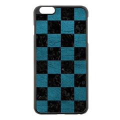 SQUARE1 BLACK MARBLE & TEAL LEATHER Apple iPhone 6 Plus/6S Plus Black Enamel Case
