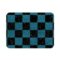 SQUARE1 BLACK MARBLE & TEAL LEATHER Double Sided Flano Blanket (Mini)