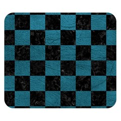 SQUARE1 BLACK MARBLE & TEAL LEATHER Double Sided Flano Blanket (Small)