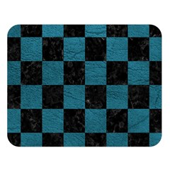 SQUARE1 BLACK MARBLE & TEAL LEATHER Double Sided Flano Blanket (Large)