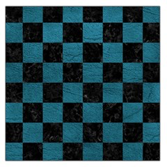 SQUARE1 BLACK MARBLE & TEAL LEATHER Large Satin Scarf (Square)