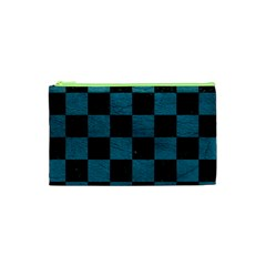 SQUARE1 BLACK MARBLE & TEAL LEATHER Cosmetic Bag (XS)