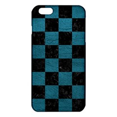 SQUARE1 BLACK MARBLE & TEAL LEATHER iPhone 6 Plus/6S Plus TPU Case