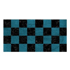 SQUARE1 BLACK MARBLE & TEAL LEATHER Satin Shawl