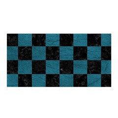 SQUARE1 BLACK MARBLE & TEAL LEATHER Satin Wrap