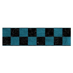 SQUARE1 BLACK MARBLE & TEAL LEATHER Satin Scarf (Oblong)