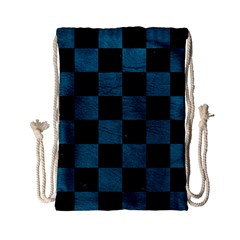 SQUARE1 BLACK MARBLE & TEAL LEATHER Drawstring Bag (Small)