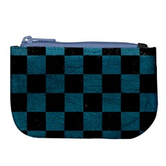 SQUARE1 BLACK MARBLE & TEAL LEATHER Large Coin Purse