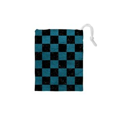 SQUARE1 BLACK MARBLE & TEAL LEATHER Drawstring Pouches (XS)