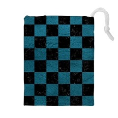 SQUARE1 BLACK MARBLE & TEAL LEATHER Drawstring Pouches (Extra Large)