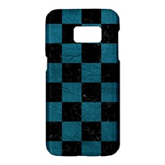 SQUARE1 BLACK MARBLE & TEAL LEATHER Samsung Galaxy S7 Hardshell Case