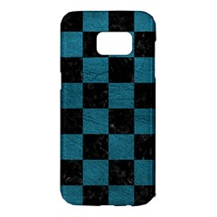 SQUARE1 BLACK MARBLE & TEAL LEATHER Samsung Galaxy S7 Edge Hardshell Case