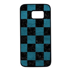 SQUARE1 BLACK MARBLE & TEAL LEATHER Samsung Galaxy S7 Black Seamless Case