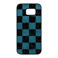 SQUARE1 BLACK MARBLE & TEAL LEATHER Samsung Galaxy S7 edge Black Seamless Case