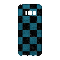 SQUARE1 BLACK MARBLE & TEAL LEATHER Samsung Galaxy S8 Hardshell Case
