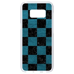 SQUARE1 BLACK MARBLE & TEAL LEATHER Samsung Galaxy S8 White Seamless Case