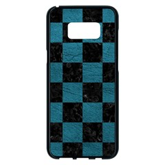 SQUARE1 BLACK MARBLE & TEAL LEATHER Samsung Galaxy S8 Plus Black Seamless Case