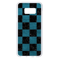 SQUARE1 BLACK MARBLE & TEAL LEATHER Samsung Galaxy S8 Plus White Seamless Case