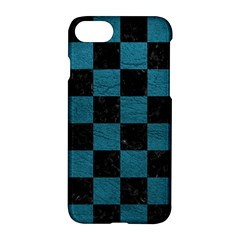 SQUARE1 BLACK MARBLE & TEAL LEATHER Apple iPhone 8 Hardshell Case