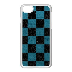 SQUARE1 BLACK MARBLE & TEAL LEATHER Apple iPhone 8 Seamless Case (White)