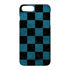 SQUARE1 BLACK MARBLE & TEAL LEATHER Apple iPhone 8 Plus Hardshell Case