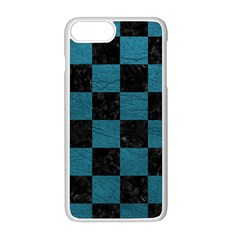 SQUARE1 BLACK MARBLE & TEAL LEATHER Apple iPhone 8 Plus Seamless Case (White)