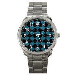 Square2 Black Marble & Teal Leather Sport Metal Watch by trendistuff