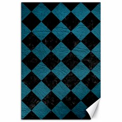 Square2 Black Marble & Teal Leather Canvas 20  X 30   by trendistuff