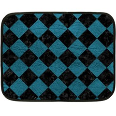 Square2 Black Marble & Teal Leather Fleece Blanket (mini) by trendistuff