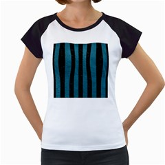 Stripes1 Black Marble & Teal Leather Women s Cap Sleeve T by trendistuff
