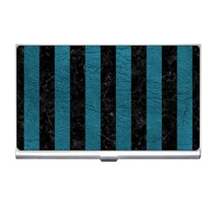 Stripes1 Black Marble & Teal Leather Business Card Holders