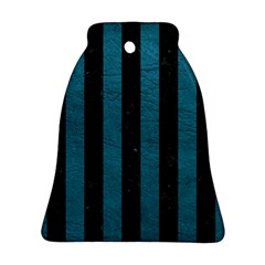 Stripes1 Black Marble & Teal Leather Bell Ornament (two Sides) by trendistuff